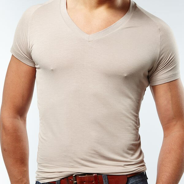 The Mr. Davis flesh tone colored v neck undershirt.