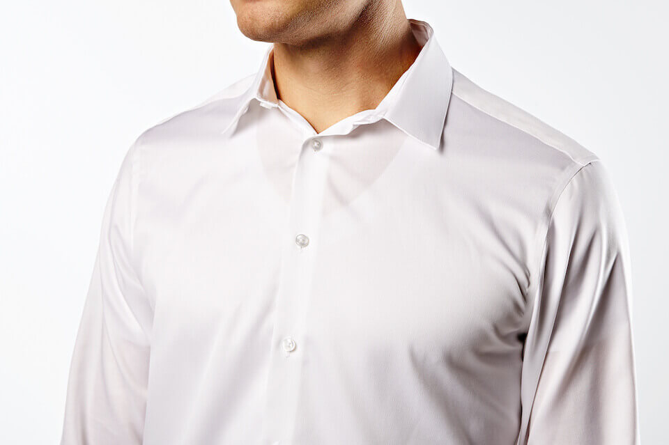 When you wear a white undershirt it shows through your dress shirt.