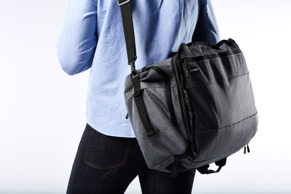 For quick trips we use the Continuum as a comfortable shoulder bag. Our padded strap reduces shoulder strain and keeps your stuff accessible.